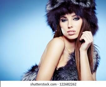 Portrait Beautiful Lady Fur Cap Stock Photo Edit Now