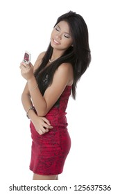 Portrait of beautiful lady looking to her phone with white background