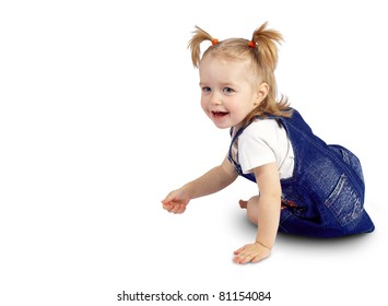 portrait of a beautiful little baby on a white background isolated