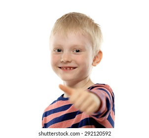 Portrait of beautiful little boy giving you thumbs up isolated on white background