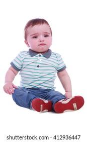 Portrait of beautiful little boy in Studio on white background