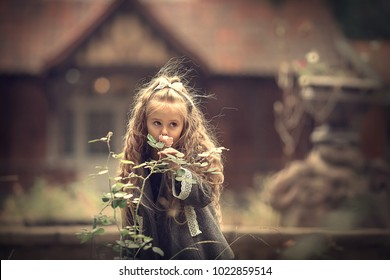 Portrait of beautiful long haired blonde girl smelling a rose in old autumn garden. Image with selective focus and toning.