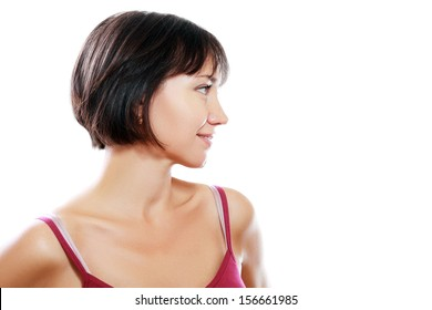 portrait of a beautiful mature woman profile in her forties in short brunette bob  smiling