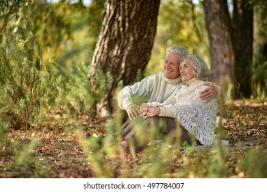 Portrait of a beautiful middle-aged couple in the autumn park