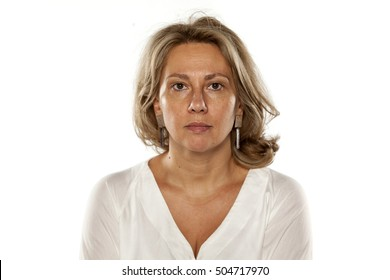 Portrait of beautiful middle-aged woman with no makeup