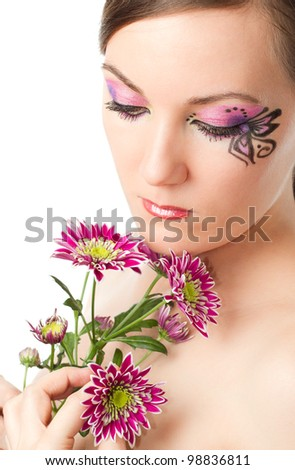 portrait of beautiful model woman with creative makeup and body art on white  background 579ed8487