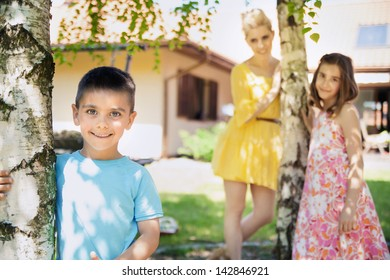 Portrait of a beautiful mother and her kids
