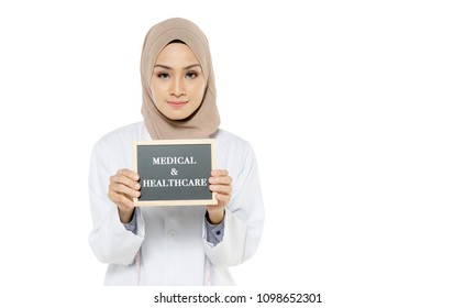 "portrait of a beautiful Muslim doctor with the concept of ""medical and healthcare"""