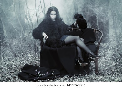 A portrait of a beautiful mysterious girl in black posing on the armchair in the forest with a raven. Beauty, fashion, nature.