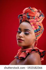 portrait of beautiful nigerian woman in traditional costume