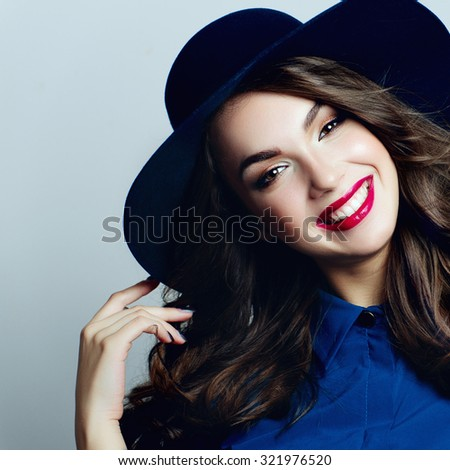 dc52aac9afa Portrait Beautiful Positive Young Girl Blue Stock Photo (Edit Now ...