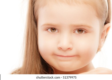 Portrait of beautiful preschool child close up, isolated on white background.