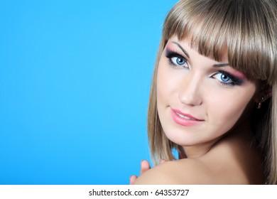 Portrait of a beautiful  professional model. Theme: healthcare, beauty, fashion
