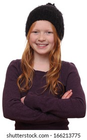 Portrait of a beautiful red-haired girl on white background