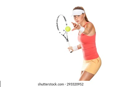 Portrait of beautiful redhead fit woman tennis player with a racket. Advertisement banner.