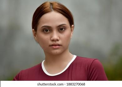 Portrait Of A Beautiful Redhead Person Wearing Tshirt