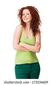 Portrait of beautiful redhead woman