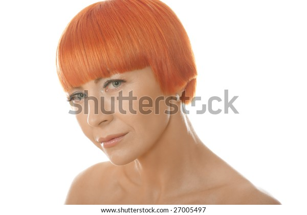 Portrait of beautiful redhead woman over white background