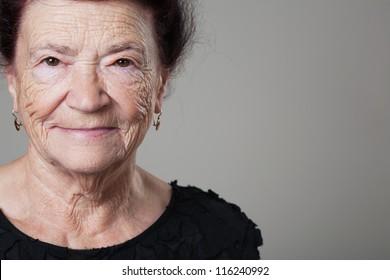 Portrait of a beautiful retired happy senior woman.