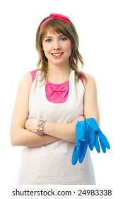 portrait of a beautiful satisfied young housewife with blue rubber gloves