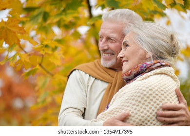 Portrait of beautiful senior couple hugging in the park