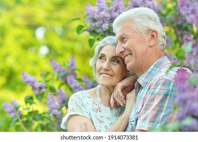 Portrait of beautiful senior couple hugging on a lilac background in the park