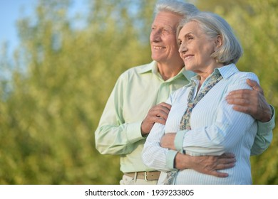 Portrait of a beautiful senior couple in the park