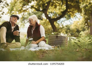 Portrait of beautiful senior couple sitting on blanket outdoor enjoying time together. Old couple picnicking on weekend holiday.