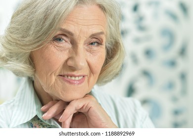 portrait of beautiful senior woman at home