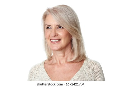 Portrait of beautiful senior woman with white hair is looking aside. Isolated