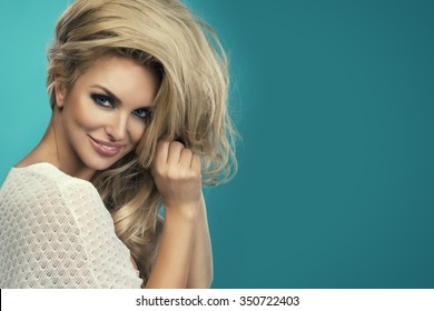 Portrait of beautiful sensual blonde woman