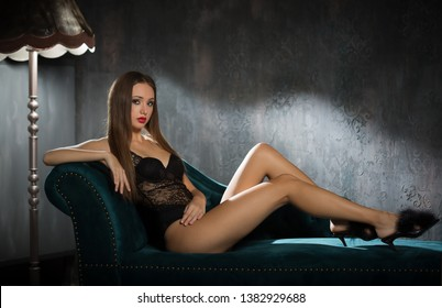 Portrait of a beautiful sensual lingerie brunette.
