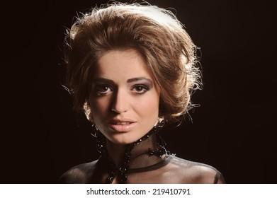Portrait of Beautiful Sensual Woman in Fashion Black Dress