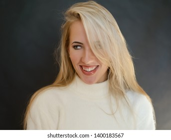 Portrait of beautiful sensual woman with green eyes. Studio shot.