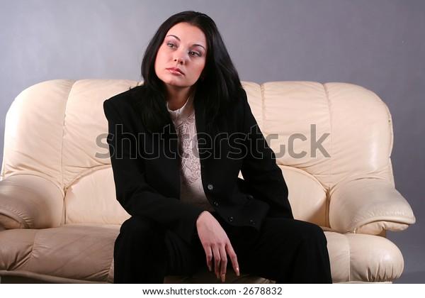 Portrait of a beautiful, sexy brunette girl