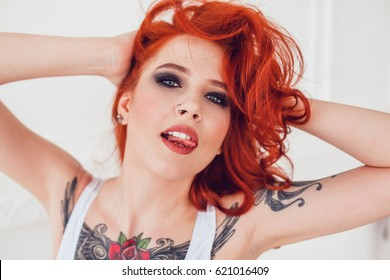 Sexy girl with red hair