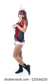 Portrait of beautiful sexy girl wearing santa claus clothes. Sexy Mrs Santa Claus