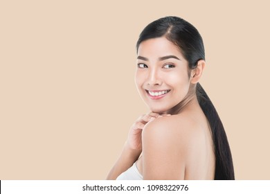 Portrait of Beautiful Skincare woman enjoy and happy,touching her face,isolated with clipping path.