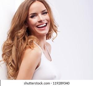 Portrait of beautiful smiling blonde woman