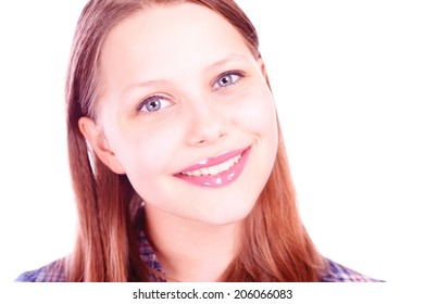 Portrait of a beautiful smiling teen girl
