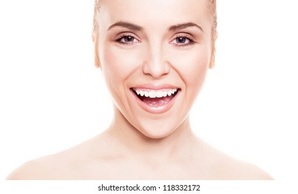 portrait of a  beautiful smiling woman, isolated against white background, copyspace for your text to the right