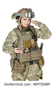 Portrait beautiful soldier or private military contractor with her finger against temple asking are you crazy? war, army, weapon, technology and people concept. Image on a white background.