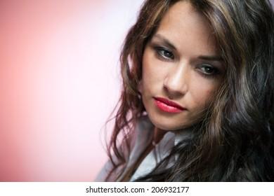 Portrait of beautiful sorrowful caucasian woman