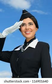 Portrait of beautiful stewardess