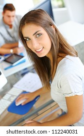 Portrait of beautiful student attending training class