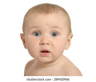 Portrait  of beautiful surprised cute baby on a white background