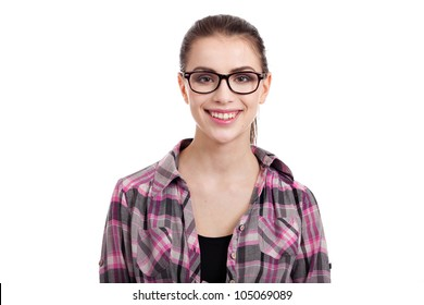 portrait of beautiful teen girl smiling, with wayfarers, isolated on white background