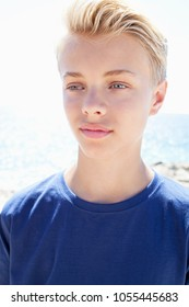 Portrait of beautiful teenager male face on beach, sunny day, thoughtful outdoors against sky. Young man leisure recreation lifestyle, travel nature space. Healthy wellness youth, innocence purity.