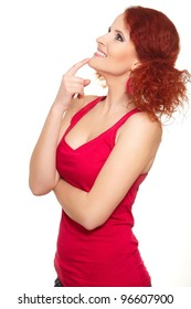 Portrait of beautiful thinking smiling redhead ginger woman in red cloth in profile isolated on white