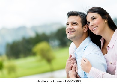 Portrait of a beautiful thoughtful couple outdoors